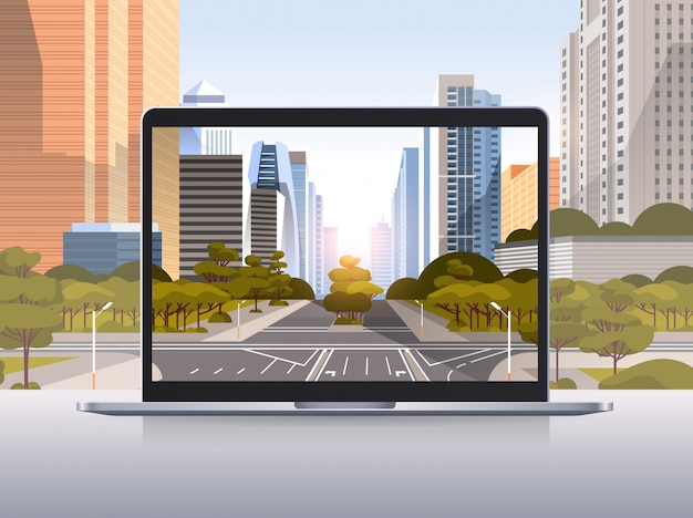 Transparent laptop screen cityscape wall realistic gadgets and devices concept