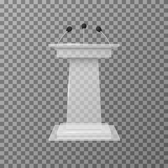 Transparent lecture speaker podium tribune isolated vector illustration