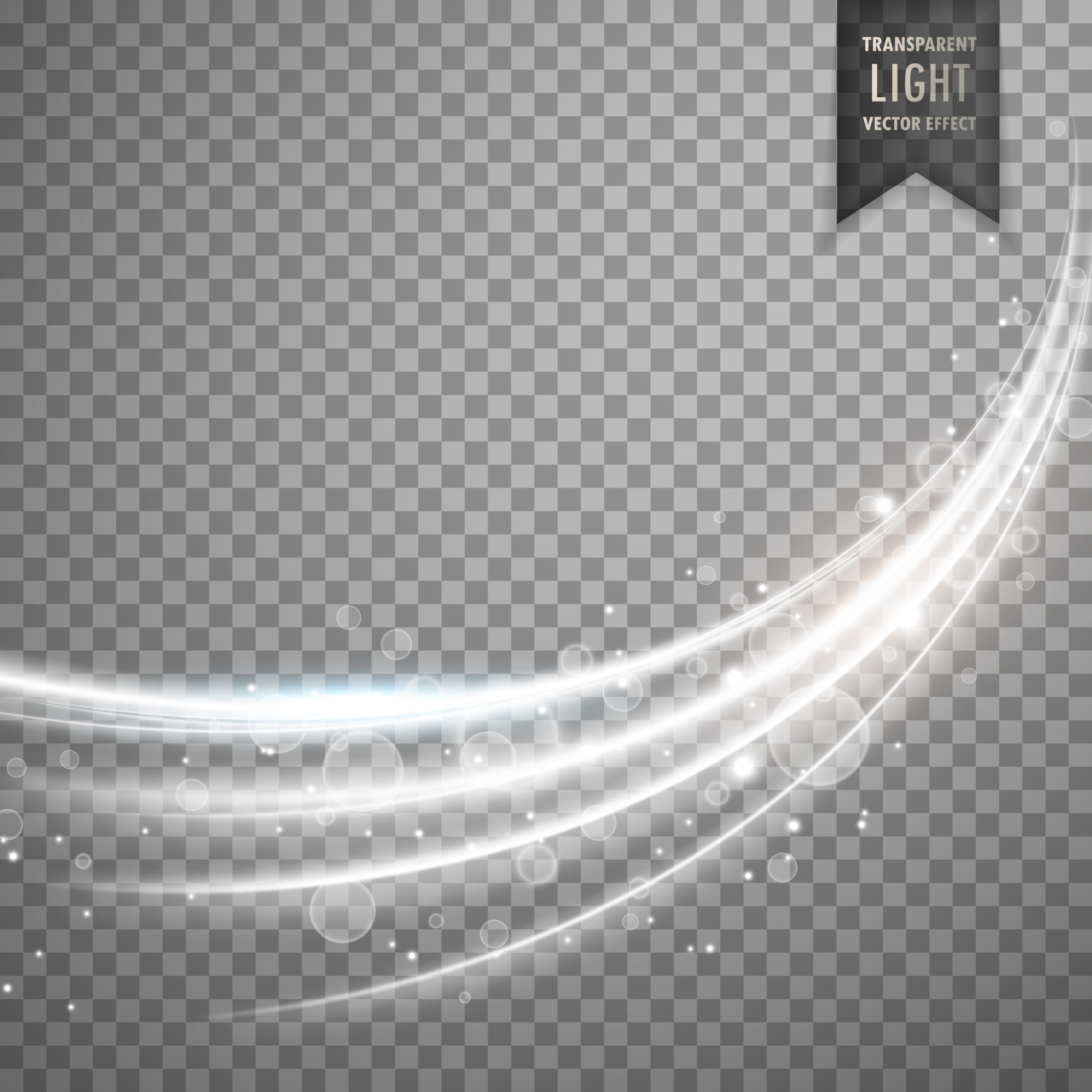Transparent light effect with curve trail and wavy shape