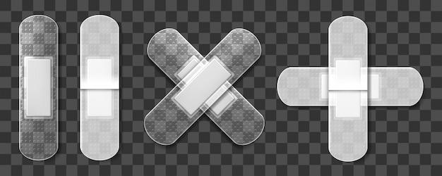 Прозрачные медицинские лейкопластыри набор. реалистичные иллюстрации, изолированные на прозрачном фоне. иллюстрация