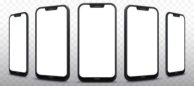 Transparent mobile phone  illustration  set from different angles and perspectives