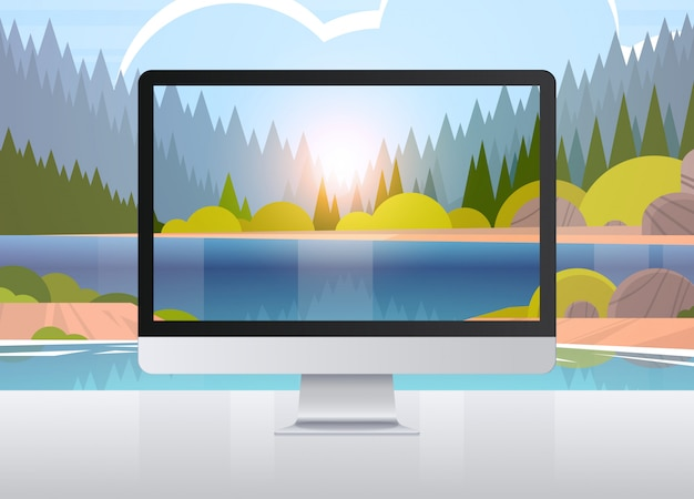 Transparent monitor screen landscape wall realistic gadgets and devices concept