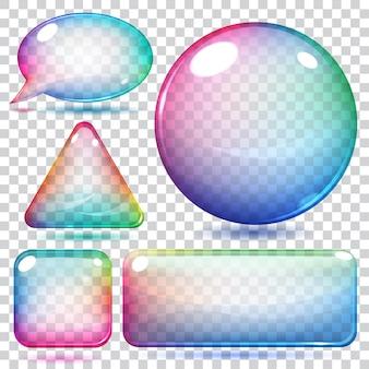 투명한 여러 가지 빛깔의 유리 모양 또는 단추 다양한 형태
