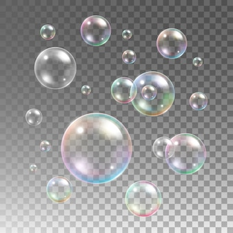 Transparent multicolored soap bubbles  set on plaid background. sphere ball, design water and foam, aqua wash