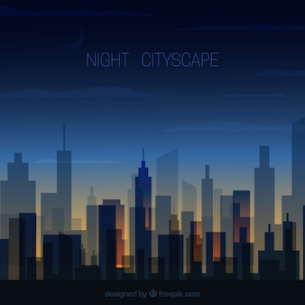 Transparent night cityscape