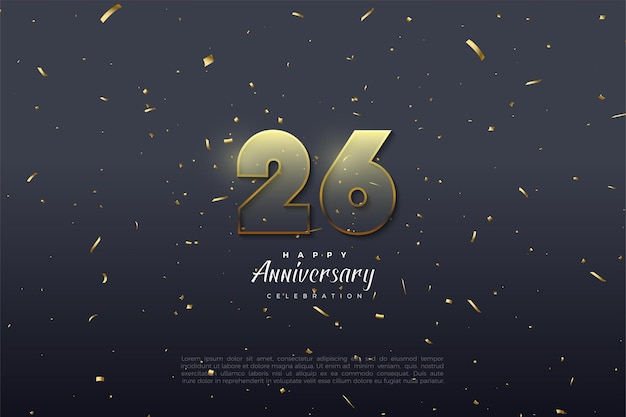 26周年記念の金色の縁取りのある透明な数字