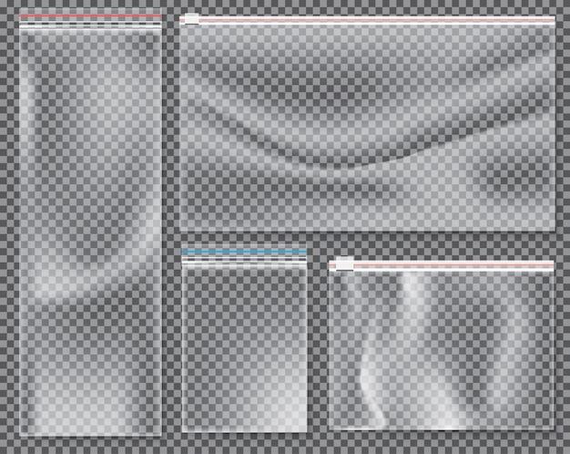 ロックまたはジップ付きの透明ナイロンバッグ。隔離された密封されたポリエチレンパックのセット。