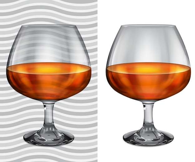Transparent and opaque realistic brandy glasses with cognac
