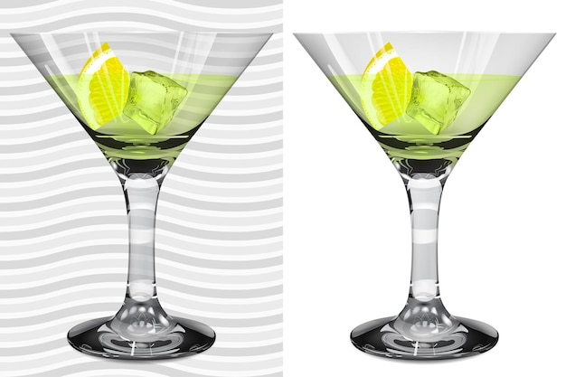 Transparent and opaque realistic full martini glasses with martini, lemon and ice cube