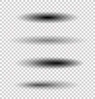 背景に分離された透明な楕円形の影。ベクトルセット。