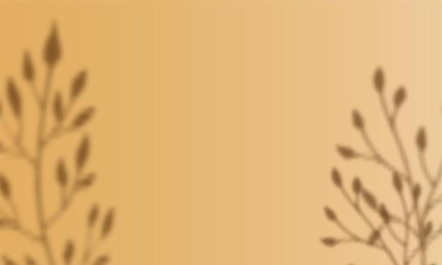 꿀 디종 색상 배경에 투명 오버레이 꽃 그림자. 그라디언트 메쉬