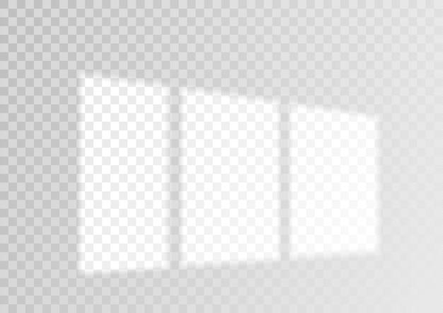 투명 오버레이 창 및 블라인드 그림자 현실적인 조명 효과 프리미엄 벡터