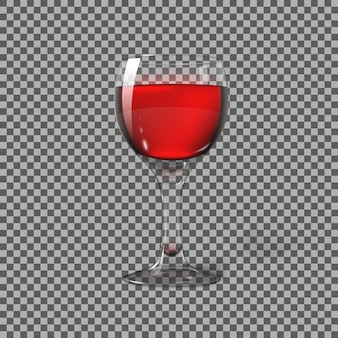 Transparent photo realistic isolated on plaid, wine glass with red wine