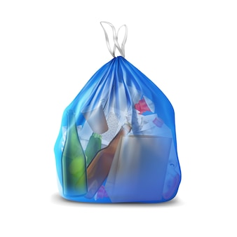 Transparent plastic bag with trash realistic composition of translucent container filled with paper and glass bottles