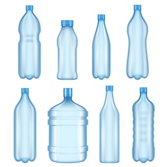 Transparent plastic bottles. vector illustrations of bottles for water
