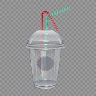 ストローが付いている透明なプラスチック製のコップ。スムージーやレモネードに。