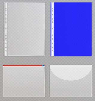透明なプラスチックファイル。ドキュメントを保護するセロハンフォルダー。背景に分離された半透明のひな形のコレクション。ジッパー付きフォルダー、ドキュメントを保護するボタン。