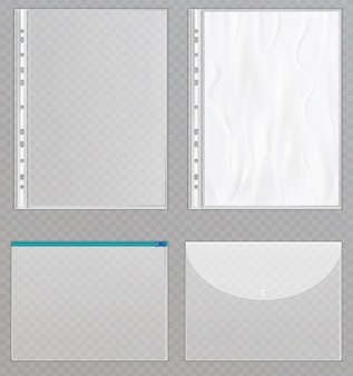 Transparent plastic files.