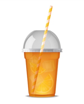 Transparent plastic glass for drink juice with straw