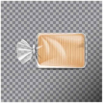 Transparent plastic packaging for bread. pack for sweets, cookies.   illustration