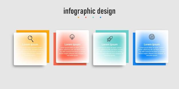 透明なプロフェッショナルステップインフォグラフィックデザインテンプレート