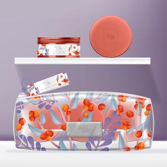 透明なpvc化粧品、美容またはウォッシュバッグセット、ティントスクリューキャップティンジャーパッケージ。オレンジと紫の花柄プリント。