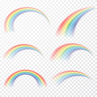 Transparent rainbow.  realistic raibow on transparent background.