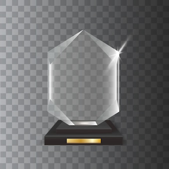 Transparent realistic blank acrylic glass trophy award