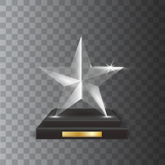 Transparent realistic blank glass trophy award