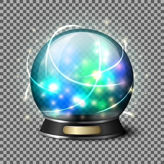 Transparent realistic bright glowing crystal ball for fortune tellers.