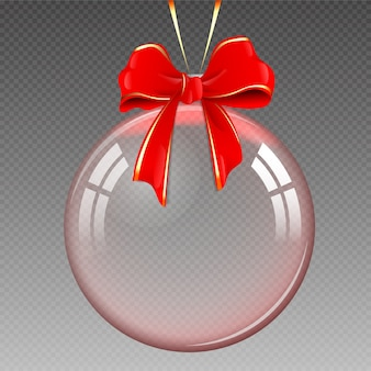 Прозрачный реалистичный елочный шар, изолированные