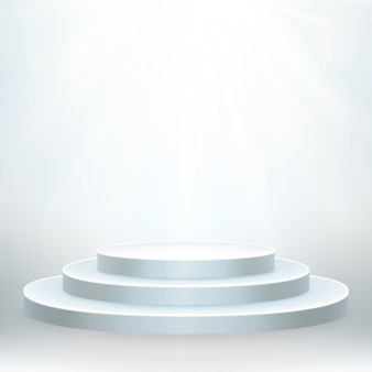 Transparent realistic effect. round podium with lights