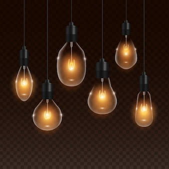 Transparent realistic golden light bulb