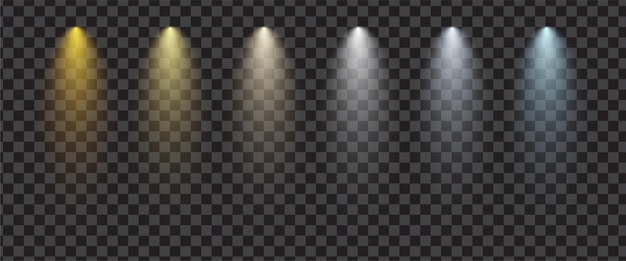 Transparent realistic spotlight set. stage lighting effect.