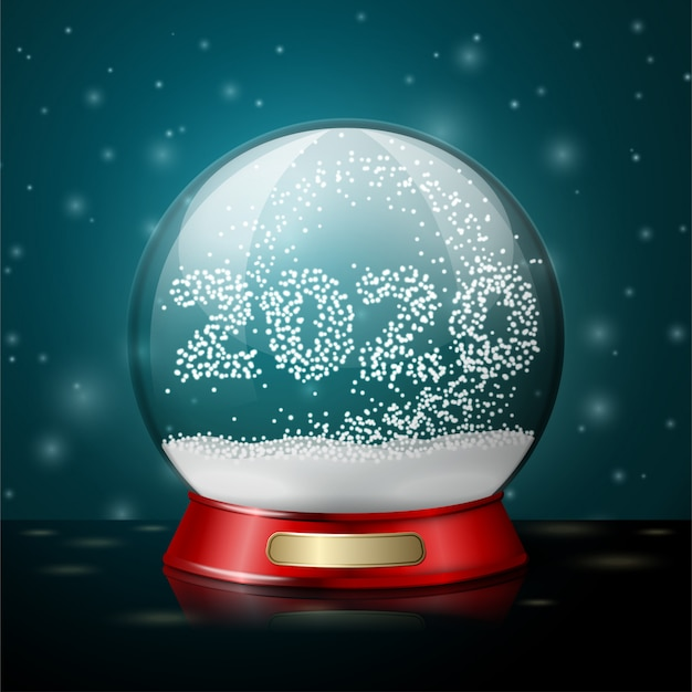 Transparent realistic vector crystal ball with snowflakes in shape of 2020 year