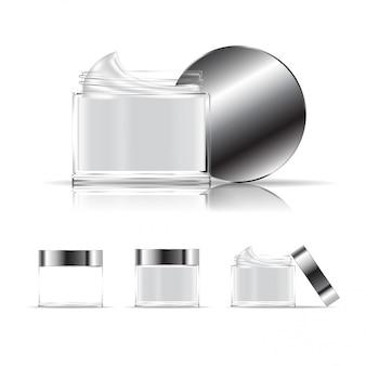 透明連容器が分離されました。クリーム、ジェル用の化粧品ガラス瓶。美容製品パッケージ。