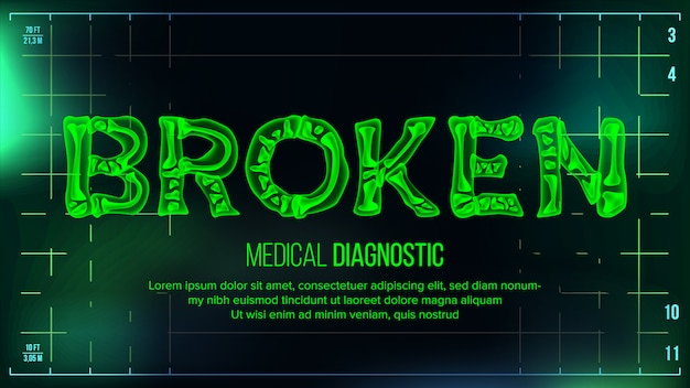 Transparent roentgen x-ray text with bones banner