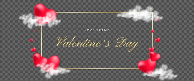 Transparent romantic valentines day greeting card template