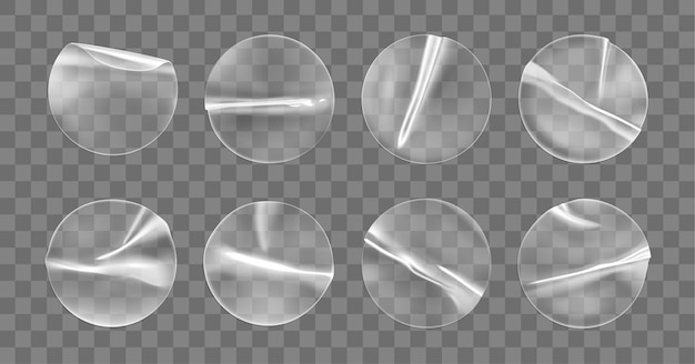 Transparent round adhesive stickers  set isolated . plastic crumpled round sticky label with glued effect.