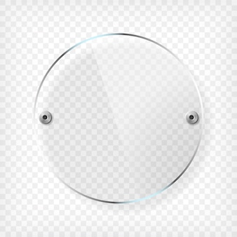 Transparent round glass plate with reflection and shadow