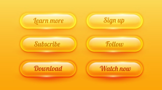 Элемент пользовательского интерфейса коллекции прозрачных округлых блестящих стеклянных кнопок