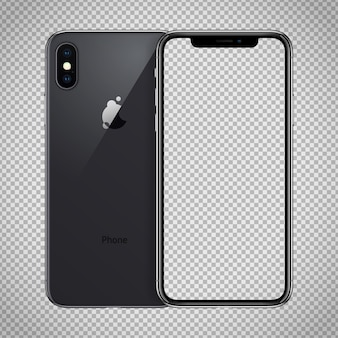 Transparent screen of black smartphone similar to iphone x