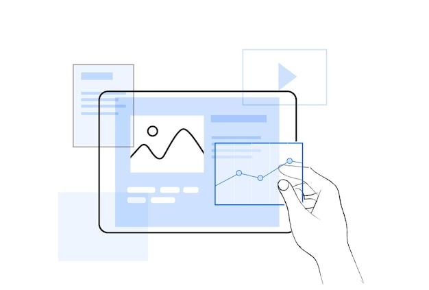 그래프와 곡선이 있는 투명 화면 소셜 미디어 기호 디지털 레이아웃 통계 곡선이 있는 카드를 들고 있는 손