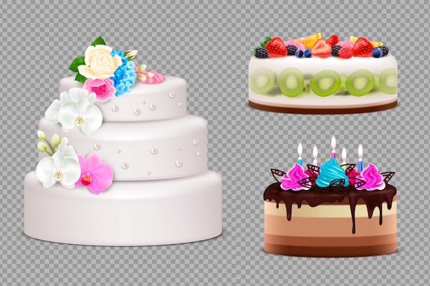 Transparent set of handmade festive cakes to order for birthday wedding or other holiday realistic illustration