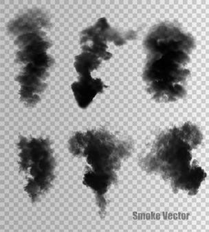 黒煙ベクトルの透明なセット。