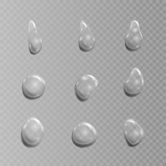 透明な滴のセット。透明な背景のイラスト