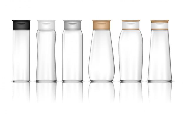 透明なシャンプーボトルが分離されました。ジェル、ローション、クリーム、バスフォーム用の液体容器。美容製品パッケージ。