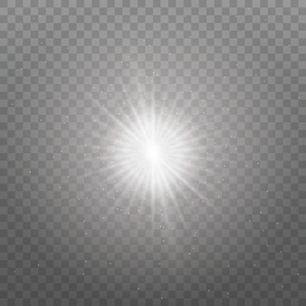 透明な輝く太陽、明るいフラッシュ。きらめき。白く光る光が爆発します。きらめく魔法のほこりの粒子。輝く星。明るいフラッシュを中央に配置します。