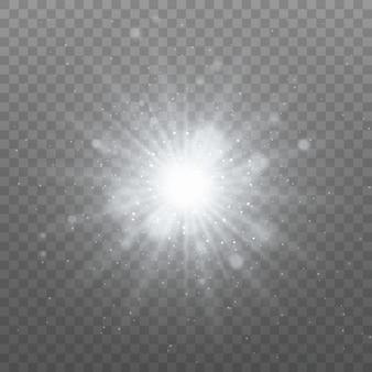透明な輝く太陽、明るいフラッシュ。きらめき。白く光る光が爆発します。