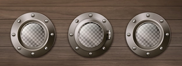 Transparent ship portholes on wooden wall